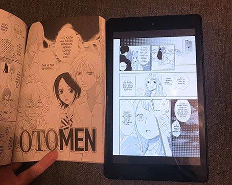 Kindle Fire HD 8 Tablet next to Manga