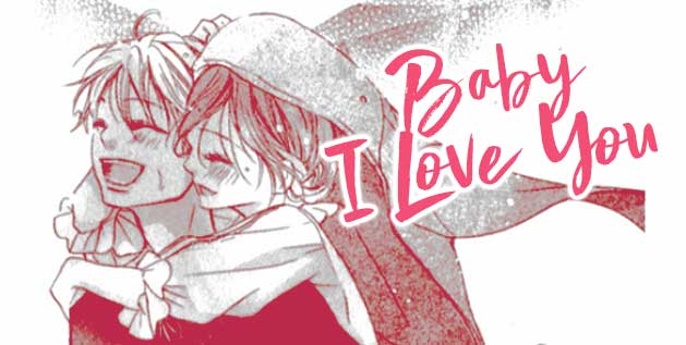 Boy carries girl on back laughing, from manga Baby I love you by Komori Mikko