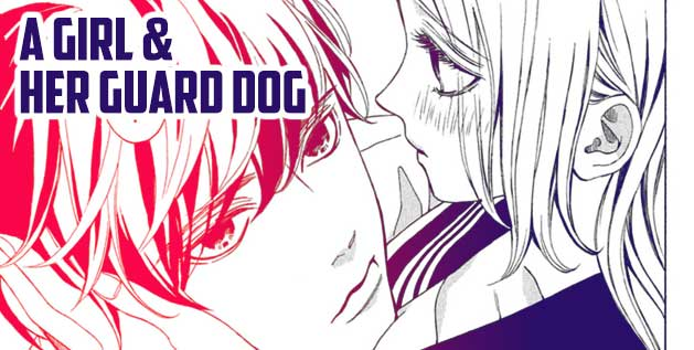 A Girl and Her Guard Dog Manga Screenshot. A man looks up at a high school girl as she holds his head in her hands.