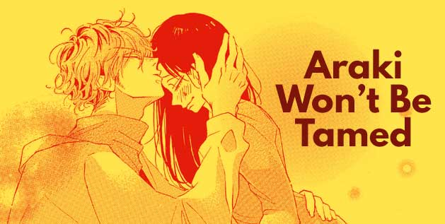 Screencap from manga Araki Wont be Tamed. Teen boy gently kisses a teen girls head.