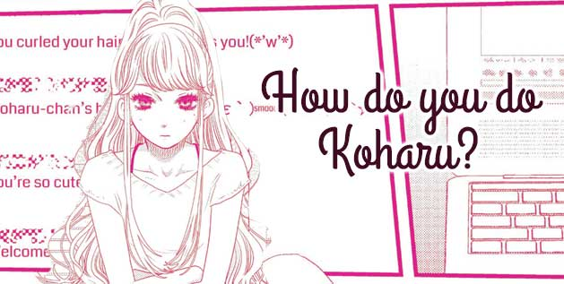 Screenshot from How do you do Koharu. A young woman stares at her computer.